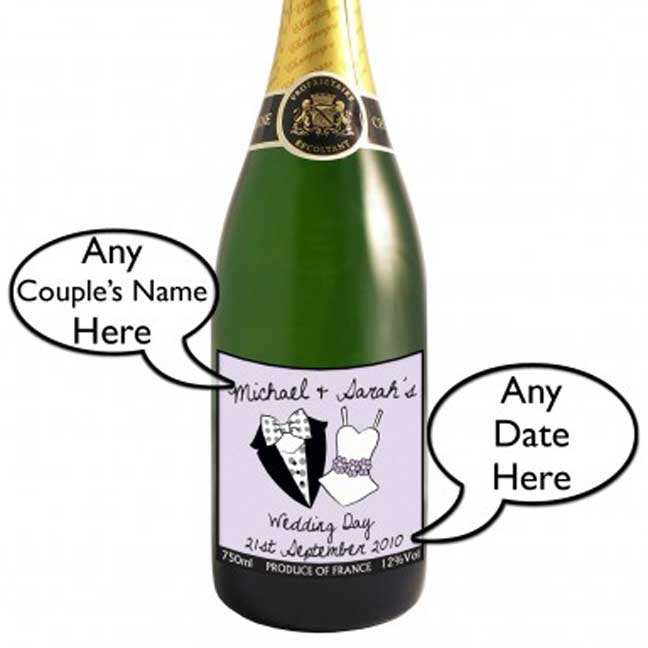 His And Her Personalised Wedding Day Champagne Bottle Larger Image